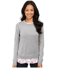 Nydj Petite Mixed Media Crew Neck Sweater Eliza Floral Women's Sweater Gray