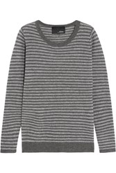 Line Striped Cashmere Sweater Gray