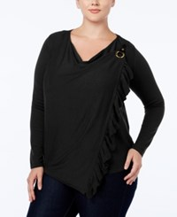 Inc International Concepts Plus Size Ruffled Convertible Cardigan Only At Macy's Deep Black