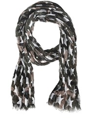 Valentino Star And Camouflage Print Linen Scarf