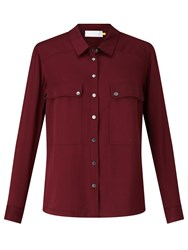 John Lewis Collection Weekend By Twill Pocket Shirt Burgundy