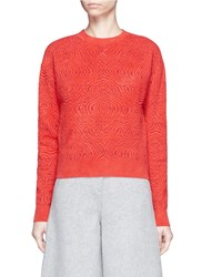 Lanvin Graphic Intarsia Brushed Sweater Red