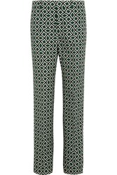 Gucci Printed Cotton Straight Leg Pants Emerald