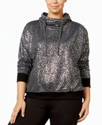 Material Girl Active Plus Size Metallic Hoodie Only At Macy's Charcoal