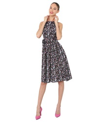 Isaac Mizrahi Printed A Line Dress Black Multi