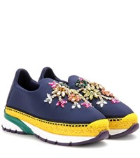 Dolce And Gabbana Embellished Espadrille Sneakers Blue