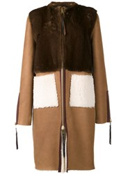 Oscar De La Renta Mink Fur Panelled Coat Brown