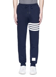 Thom Browne Stripe Print Cotton Sweatpants Blue
