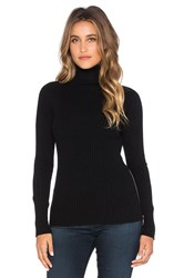 Autumn Cashmere Ribbed Side Zipper Turtleneck Sweater Black