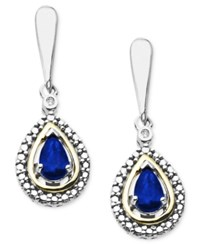 Macy's 14K Gold And Sterling Silver Earrings Gemstone 3 8 Ct. T.W. And Diamond Accent Teardrop Earrings