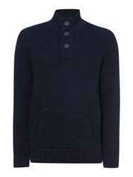 Criminal Danny Funnel Neck Jumper Denim Marl