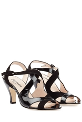 Repetto Bamba Patent Leather And Suede Sandals Black