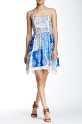 Flying Tomato Floral Print Spaghetti Strap Dress Blue