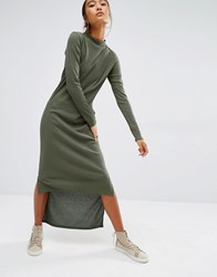Daisy Street High Neck Maxi Dress With Hi Low Hem Khaki Green