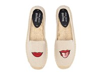 Soludos Embroidered Smoking Slipper Sand Cotton Woven Canvas Women's Slip On Shoes Beige