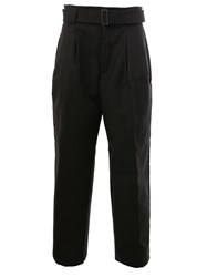 Juun.J Belted Tailored Cropped Trousers Black