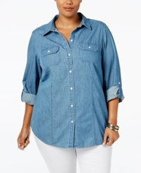 Charter Club Plus Size Tab Sleeve Denim Chambray Shirt Only At Macy's Dusk Chambry