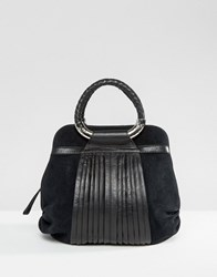 Ri2k Leather And Suede Mix Bag Black