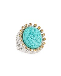 Stephen Dweck Silver Carved Turquoise And Citrine Ring Women's