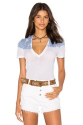 Monrow Basic V Neck With Color Block Tie Dye White