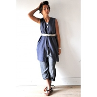 Sleeveless Coat Thick Indigo Linen