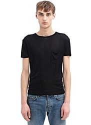 Saint Laurent Washed Silk Jersey T Shirt Black
