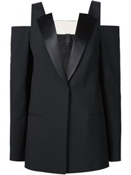 Vera Wang Off Shoulder Tuxedo Blazer Black