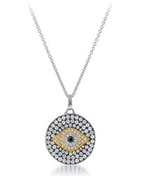 Diana M. Jewels 18K Two Tone Diamond Evil Eye Pendant Necklace Women's