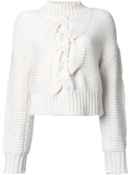 Le Ciel Bleu Hand Cable Sweater White