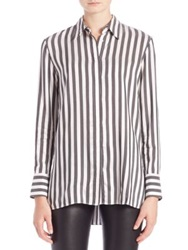 Alice Olivia Striped Hi Lo Shirt White Black