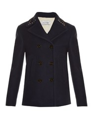 Valentino Rockstud Double Faced Pea Coat Navy