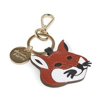 Maison Kitsune Leather Fox Head Keyring Brown