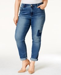 Inc International Concepts Plus Size Patched Boyfriend Jeans Only At Macy's Indigo