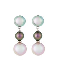 Majorica Triple Pearl Drop Earrings Gray