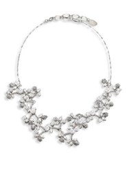 Erickson Beamon I Do Faux Pearl And Crystal Flower Necklace Silver