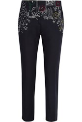 Mira Mikati Dot To Dot Embroidered Cotton Blend Twill Straight Leg Pants Black