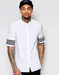 Asos White Shirt With Printed Sleeve Stripe In Regular Fit White