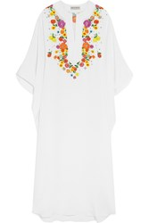 Emilio Pucci Embroidered Silk Crepe Kaftan White