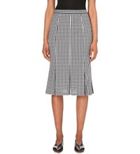 Moandco. Gingham Print Stretch Cotton Blend Skirt Blue And White Check