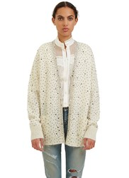 Saint Laurent Crystal Knit Cardigan White