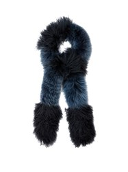 Fendi Lamb And Fox Fur Scarf Blue Multi