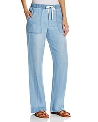 Prive Wide Leg Denim Drawstring Pants Light Chambray