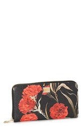 Dolce And Gabbana Floral Print Leather Wallet Garofani Nero Rosso
