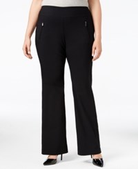 Inc International Concepts Plus Size Ponte Wide Leg Pants Only At Macy's Deep Black