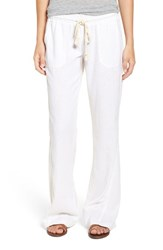 Roxy Women's 'Oceanside' Drawstring Woven Linen Blend Pants Sea Salt