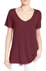 Women's Socialite Back Cutout Slub V Neck Tee Burgundy