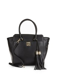 Karl Lagerfeld Devon Leather Satchel Black Gold