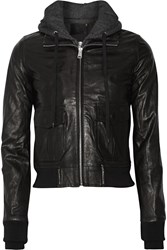 R 13 R13 Hooded Washed Leather And Jersey Biker Jacket Black