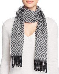 Bloomingdale's C By Geometric Cashmere Scarf Sky Oatmeal