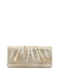 Lauren Merkin Caroline Snake Embossed Leather Evening Clutch Bag Champagne
